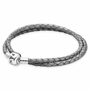 Pandora Grey Double-Layer wlWoven Leather Bracelet